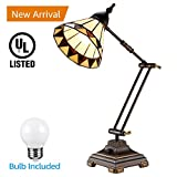 Tiffany Style Swing Arm Desk Lamp, Mission Style Table Light, Colored Glass Lampshade, Alloy Light Base, for Bedrooms, Living Rooms, Offices Decoration Lighting
