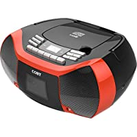 Coby MPCD-102-RED CD Cassette Radio Player/Recorder with MP3/USB (Red)