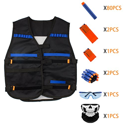 Nerf Vest Kit for Kids - Tactical Vest kit for Nerf Guns N-strike series with 80 Pcs Darts and 3 Pcs 6/12 Reload Clips for Boys and Girls