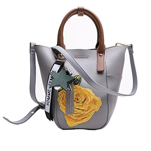MUSAA Women Top Handle Handbags Satchel Purse Tote Bag Shoulder Bag Purse With Embroidery(yellow rose) (Rose Tote Embroidery)