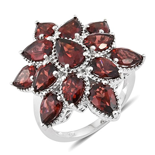 925 Sterling Silver Platinum Plated 9.9 Cttw Pear Garnet Cluster, Floral Ring For Women Size 11