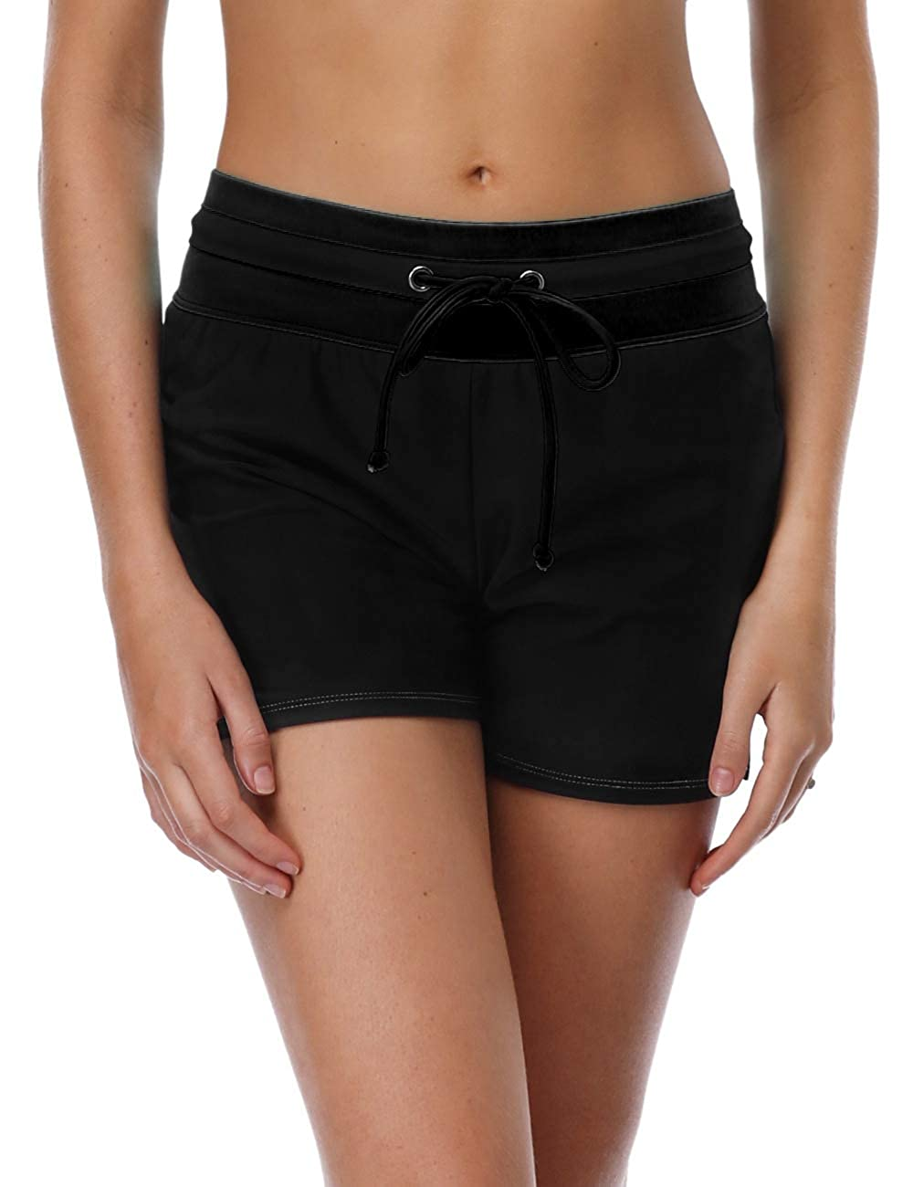 All Black Anferry Womens Board Shorts with High Waisted Swimwear Shorts color Block