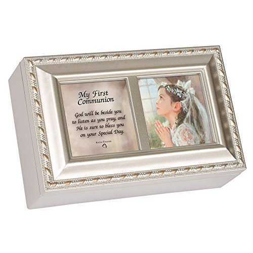 Cottage Garden First Communion God Beside You Brushed Silvertone Jewelry Music Box Plays Amazing Grace -
