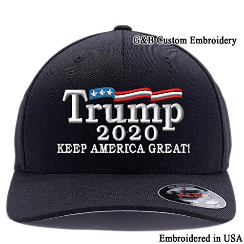 Trump 2020 Keep America Great hat. Embroidered. 6277 Wooly Combed Twill Flexfit Cap (L/XL, Black)
