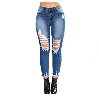 Qirong Waist Jeans Women Denim Hole Ripped Jean for Women ...