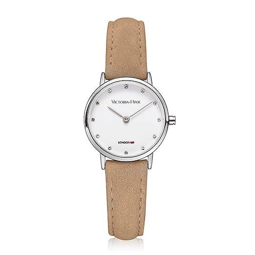VH reloj de mujer de marca relojes de pulsera de cuero para adultos sumergible al agua fashion color beige: Amazon.es: Relojes