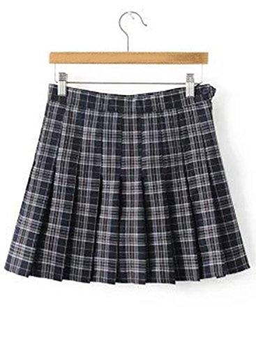 Navy Skirt Mini Women's Pleated Pattern Achicgirl Fashion Plaid wTYqwP0