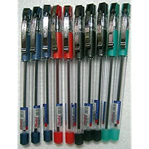 Set of 10 Montex Mega Top Blue, Black, Red & Green Ball Pen - Original Brand New - India