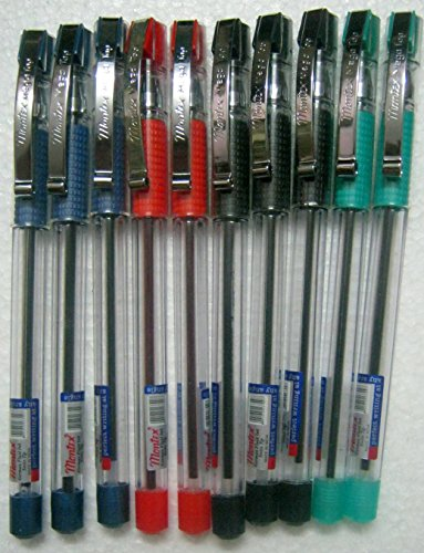 Set of 10 Montex Mega Top Blue, Black, Red & Green Ball Pen - Original Brand New - India