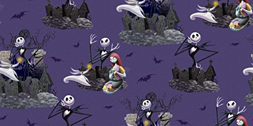 Springs Creative Products Group Disney Nightmare Before Christmas Scenic Fabric, 43 by 44-Inch Wide, Purple