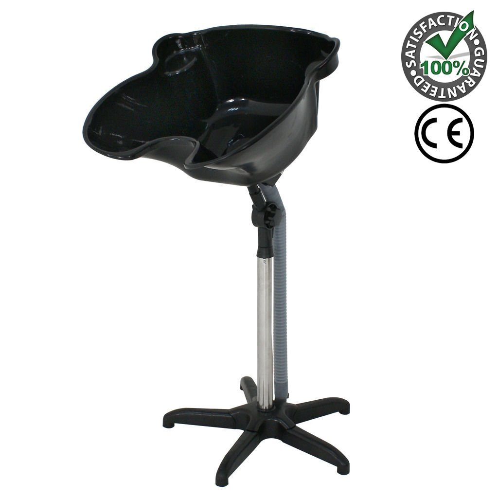 Beauty Royal Portable Shampoo Basin for Bedridden Disabled Salon Sink Wheel Chair Bound Neck rest Home | Height Adjustable Deep Bowl Hair Treatment Instrument Equipment Black with Drainage System