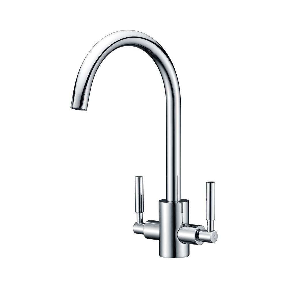 Chrome 13 Volcano Black Kitchen Mixer Taps WENKEN Double Handles Swivel Spout Solid Brass Monobloc Kitchen Sink Tap