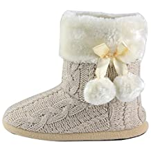 Ladies Slippers Womens Indoor Slipper Boots with knitted upper and Pom Poms