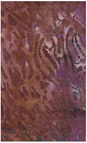 Tiger Stripes Purple Design - Java Block Printed (Tjap Stamped) Wood Grain, Tree Bark on Exuberant Pink, Deep Mauve Mottled Bali Tie Dye (Ikat) Batik Gradation ~ HALF YARD!! ~ #38833 Quilt 100% Cotton 44