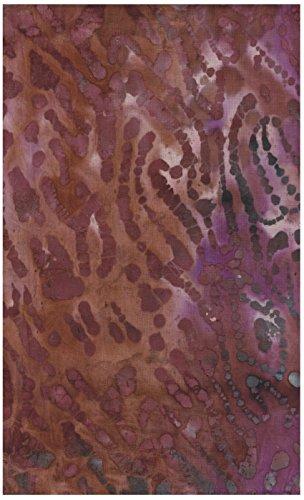 Tiger Stripes Purple Design - Java Block Printed (Tjap Stamped) Wood Grain, Tree Bark on Exuberant Pink, Deep Mauve Mottled Bali Tie Dye (Ikat) Batik Gradation ~ HALF YARD!! ~ #38833 Quilt 100% Cotton 44