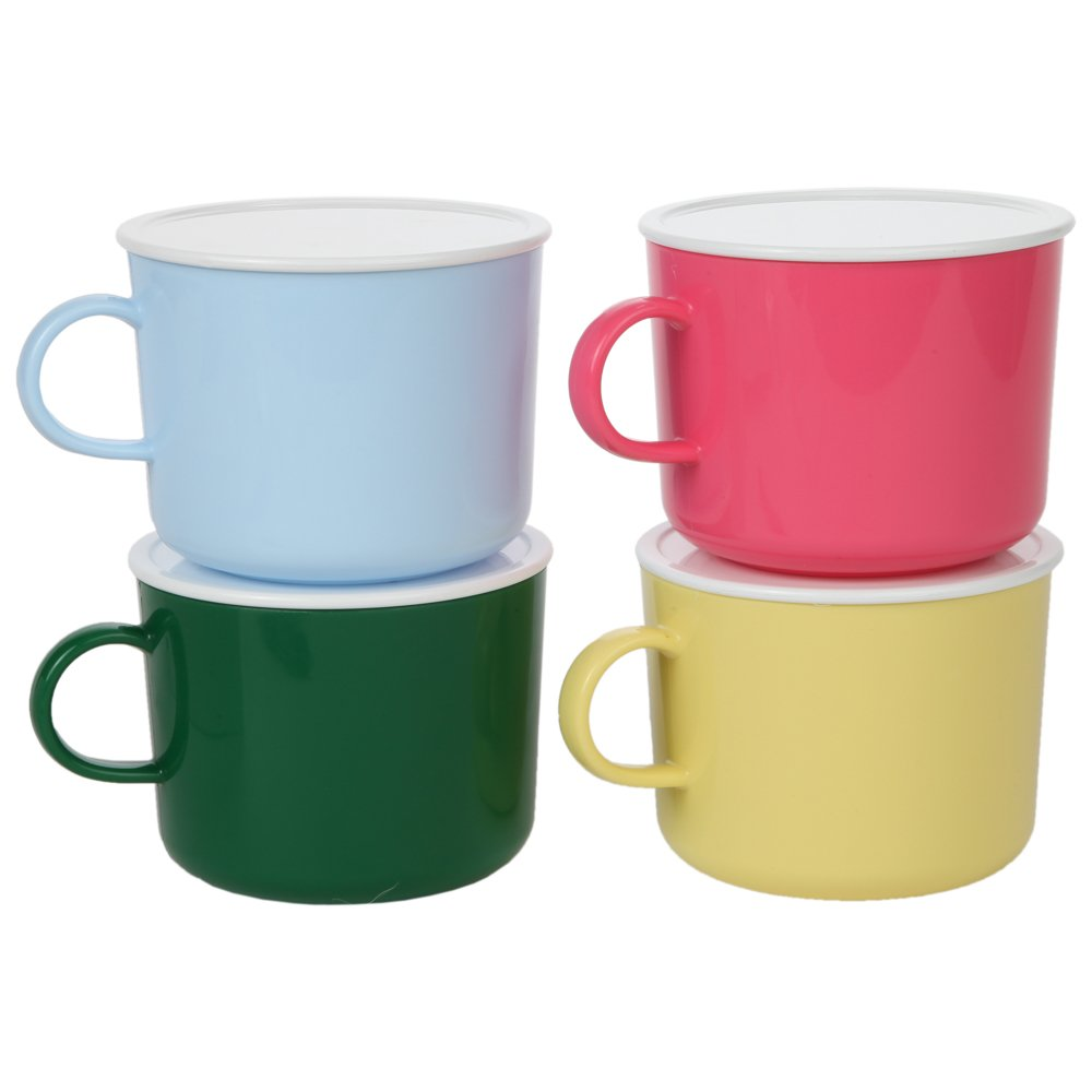 Home-X Microwave Soup Mug Set of 4 Colors with Lids (Pink, Yellow, Blue and Green)