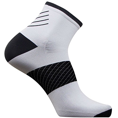 Pure Athlete Plantar Fasciitis Sock - Compression Heel/Arch Support, Foot Sleeve, Ankle Socks (White, 3 Pairs - (Best Pure Heel Supports)