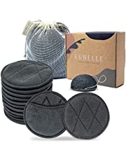Lunelle Charcoal Bamboo Reusable Makeup Remover Pads 12 Pack - Reusable Face Pads with Laundry Bag + Charcoal Konjac Sponge Bamboo Makeup Remover Pads - Sustainable Reusable Cotton Pads Face Gift Set