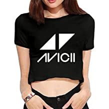 Iancaopin Women's Fashion Summer Dew Navel T-ShirtInteresting Avicii Logo Tees Black