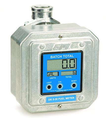 GPI 126300-12, DR530-8N Digital Fuel Meter, 5-30 GPM (19-114 LPM), 1-Inch FNPT, 7 Pre-Programmed Units of Measure (Gallons, Liters, Quarts), Optional Open Collector Signal, Batch & Cumulative Totals