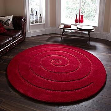 Think Rugs Teppich Wolle Rund Motiv Spirale Rot Buschelig 180cm