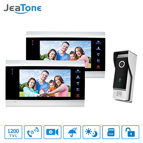 Jeatone 7 Inch Ring Video Doorbell Intercom Door Phone Monitor Home 2 Indoor Monitor and 1 Outdoor Camera Night Vision Wired IP65 -  P203B2M706S1