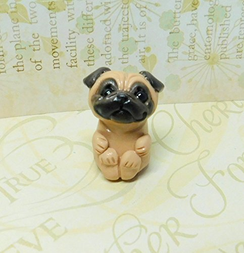 Totem Pug, Fawn Pug Totem Sculpture, Pug gift, Pug pocket pal by Raquel at theWRC clay DOG