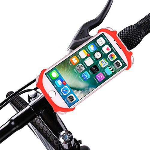 """Rumfo Rumfo Universal Bicycle Phone Holder, Adjustable Silicone Handlebar Crack for iPhone X/6/7/8 Plus, Samsung Galaxy S9/S8 Plus, 4""""-6"""" phones, Ideal for Road Mountain Bikes and Motorcycle (Red)"""