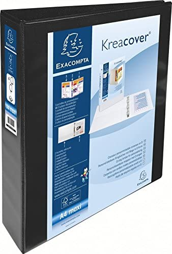 Amazon.com : Exacompta Kreacover PP Ring Binder, A4 Maxi, 4 ...