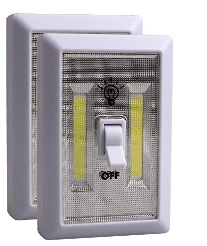 JOLLYTOOL Cob Led Night Light Switch, Wireless Emergency Led Light Switches, Battery Operated, Magnetic, Portable, Cordless, for Garages, Attic, Home, Kitchen, Camping, Closet, Cabinet (2 Pack)