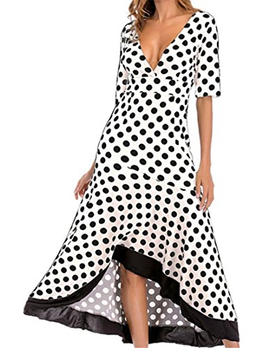 Cut Ruffle Half Dots Prom High Low Long White Polka Low Women Cromoncent Sleeve Dress Party qT0EB5w4Xx