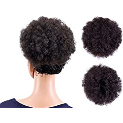 SWACC Afro Puff Drawstring Ponytail Kinky Curly Afro Clip on Updo Chignon Bun Hair Piece Extensions for African American Women Medium Size (Dark Brown-4#)