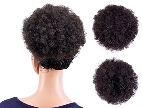 Search : SWACC Afro Puff Drawstring Ponytail Kinky Curly Afro Clip on Updo Chignon Bun Hair Piece Extensions for African American Women Medium Size (Dark Brown-4#)
