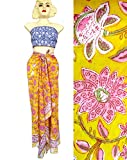 Rastogi Handicrafts 100% Cotton Hand Block Print Sarong Womens Swimsuit Wrap Cover Up Long (73'' x 44'') (Yellow 5)