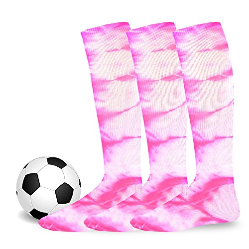 - Soxnet Cotton Unisex Soccer Sports Team Socks 3 Pack (Large (10-13), Tie Dye Hot Pink)