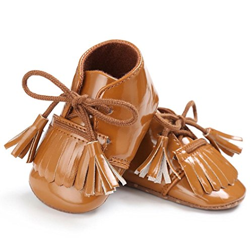 Hunpta Baby Neugeborene Troddel Soft Sole Leder Schuhe Jungen Mädchen Kleinkind Krippe Prewalker (0 ~ 6 Monate, Blau) Braun
