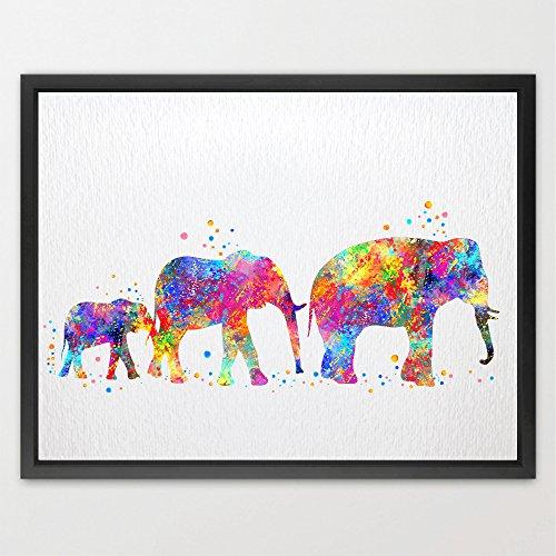 Dignovel Studios 11X14 Elephant Family Watercolor illustration Art Print Wall Art Poster Home Decor Wall Hanging Birthday Gift Motivational Inspirational Art N003