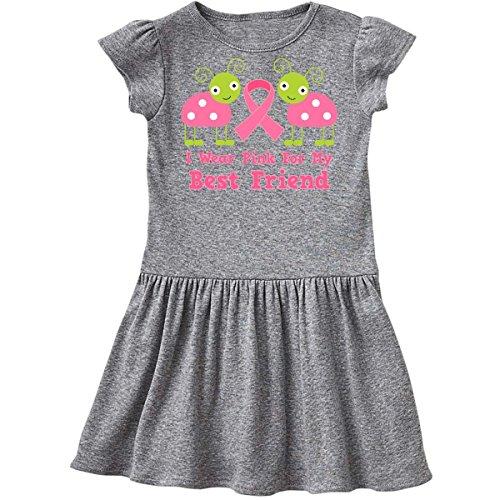 inktastic - Pink Ribbon Best Friend Infant Dress 18 Months Heather Grey ddb4