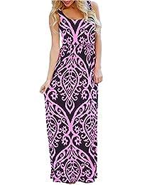 Women's Sleeveless Bohemian Floral Beach Tank Maxi Dresses Long Sundress with Pockets