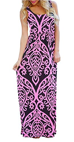 BLUETIME Women Summer Floral Full Length Tropical Vacation Beach Maxi Dresses Rose Red L