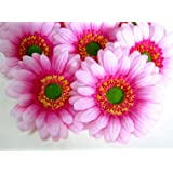 "(12) BIG Silk Pink Gerbera Daisy Flower Heads , Gerber Daisies - 3.5"" - Artificial Flowers Heads Fabric Floral Supplies Wholesale Lot for Wedding Flowers Accessories Make Bridal Hair Clips Headbands Dress"