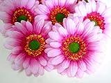 (12) BIG Silk Pink Gerbera Daisy Flower Heads , Gerber Daisies - 3.5