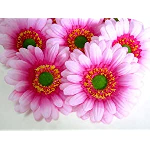 "(12) BIG Silk Pink Gerbera Daisy Flower Heads , Gerber Daisies - 3.5"" - Artificial Flowers Heads Fabric Floral Supplies Wholesale Lot for Wedding Flowers Accessories Make Bridal Hair Clips Headbands Dress 5"