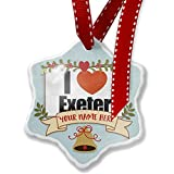 Add Your Own Custom Name, I Love Exeter region: South West England, England Christmas Ornament NEONBLOND