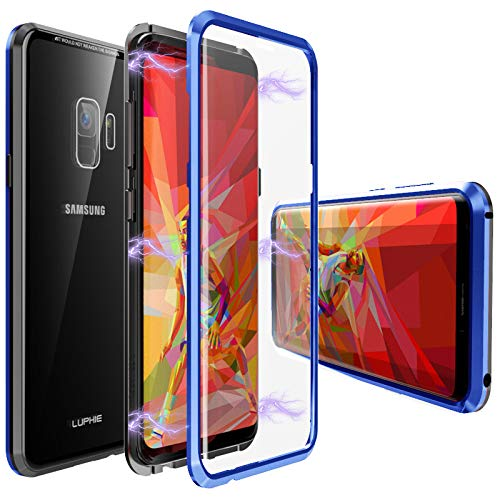 Glass Galaxy S9 Plus Case,Magnetic Adsorption Case Front and Back Tempered Glass Full Screen Coverage One-Piece Design Flip Cover [Support Wireless Charging] for Samsung Galaxy S9 Plus-Blue