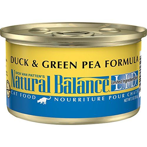 Natural Balance L.I.D. Limited Ingredient Diets Wet Cat Food, Duck & Green Pea Formula, 3-Ounce Can (Pack Of 24)