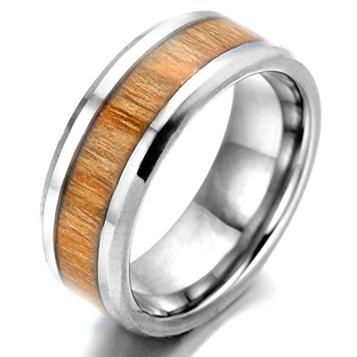 O Lion Costume Uk (Stainless Steel Ring for Men, Wood Ring Gothic Silver Band Brown 8MM Size 9)