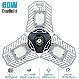 Garage Lights Led Deformable Garage Light Ceiling LED 60W 6000Lumen Flexled Garage Light Tribrite Led Adjustable Light with 3 Panel Led Shop Lights for Garage Ceiling Basement Workshop