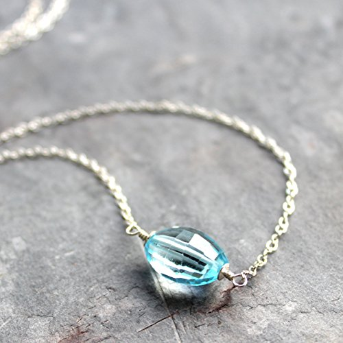 Focal Barrel (Blue Topaz Necklace Sterling Silver Single Stone Chunky Faceted Barrel)