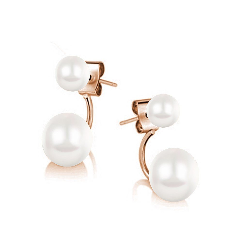 Double Cycle Stud Jacket Earrings with Swarovski Crystal Simulated White Pearls 18 ct Rose Gold Plated for Women
